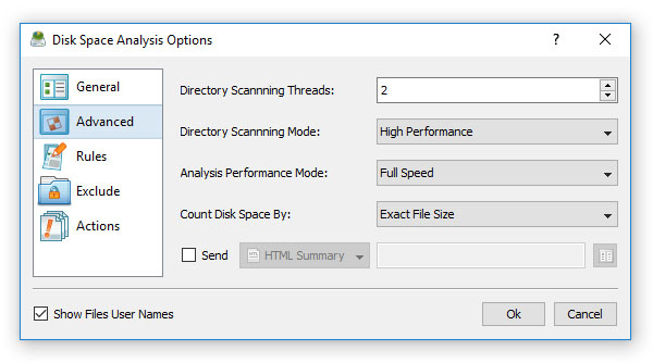 DiskSavvy Server Advanced Analysis Options