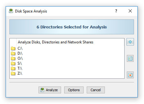 Disk Space Analysis Input Directories