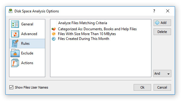 Disk Space Analysis Rules
