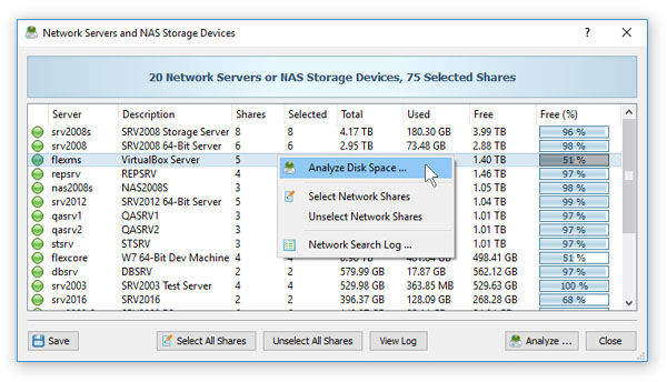Analyzing Network Servers and NAS Storage Devices