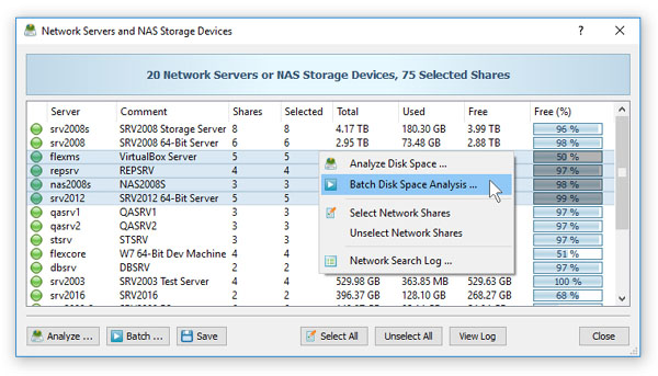 Batch Disk Space Analysis Operations